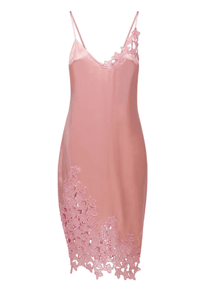 Orchid Embroidery Silk Slip Dress