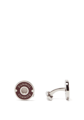 Dunhill - Logo-roundel Enamelled Sterling-silver Cufflinks - Mens - Red Silver