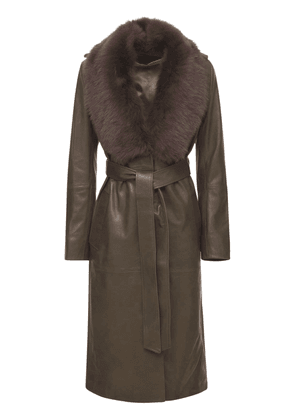 Uptown Girl Leather Belted Trench Coat