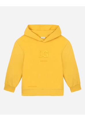 Dolce & Gabbana Collection - Jersey hoodie with embossed DG logo Yellow male 2