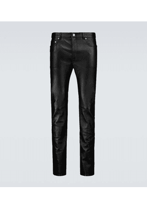Skinny-fit stretch leather pants