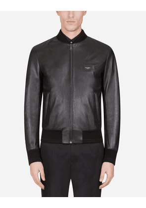 Dolce & Gabbana Collection - Leather jacket with branded plate Black male 60