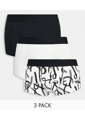 ASOS DESIGN 3 pack short trunks with abstract print-Multi