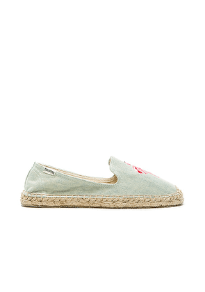 Soludos Flamingo Embroidered Espadrille in Blue. Size 5, 5.5, 6.5, 7, 7.5, 8.
