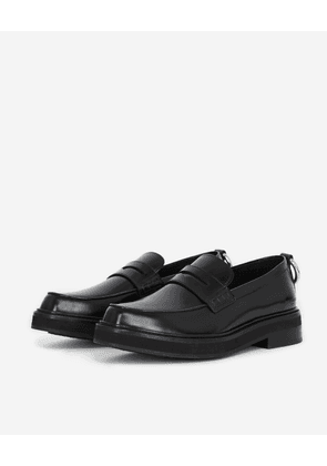 The Kooples - Chunky glossy black leather moccasins - WOMEN