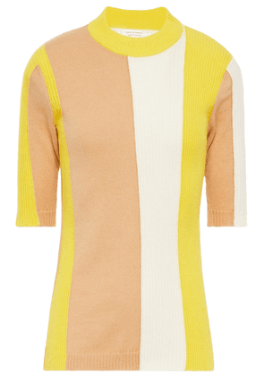 Chinti & Parker Color-block Ribbed Cotton And Cashmere-blend Top Woman Sand Size L