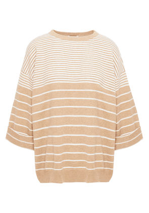 Brunello Cucinelli Embellished Striped Wool, Cashmere And Silk-blend Sweater Woman Sand Size S