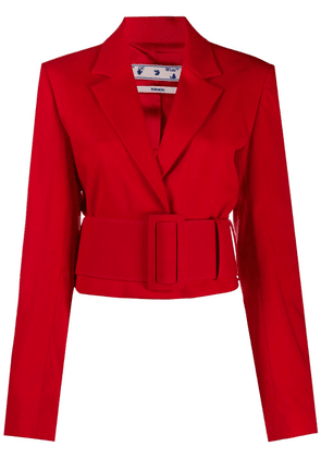Off-White cropped belted blazer - Red