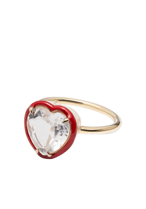 Alison Lou 14kt yellow gold topaz Heart cocktail ring