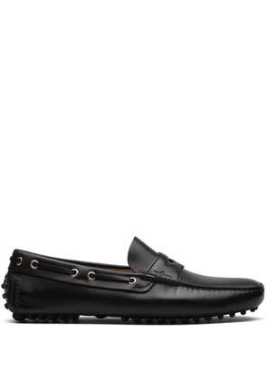 Car Shoe slip-on leather driving shoes - Black