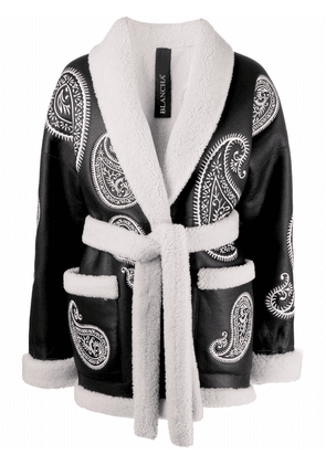 Blancha paisley-embroidered belted leather jacket - Black