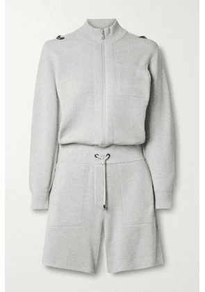 Brunello Cucinelli - Ribbed Cotton Playsuit - Light gray