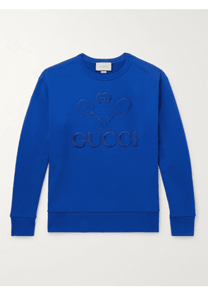 Gucci - Logo-Embroidered Loopback Cotton-Jersey Sweatshirt - Men - Blue - S