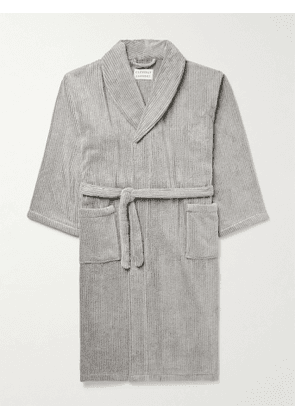 Cleverly Laundry - Pinstriped Cotton-Terry Robe - Men - Gray - 1