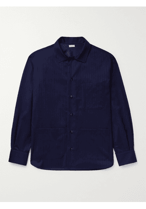 Caruso - Pinstriped Wool and Silk-Blend Shirt Jacket - Men - Blue - M