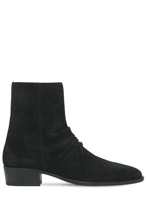 Skinny Stack Suede Boots