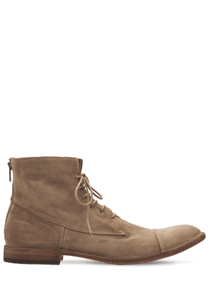 25mm Suede Zip Ankle Lace-up Boots
