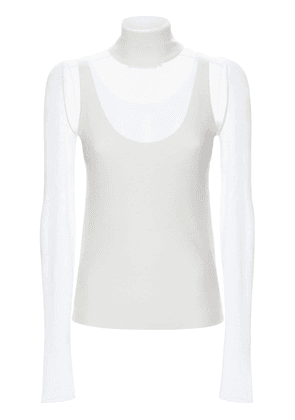 Knit Neck Layered Mesh Top