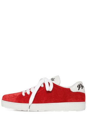 10mm  One Suede & Leather Logo Sneakers