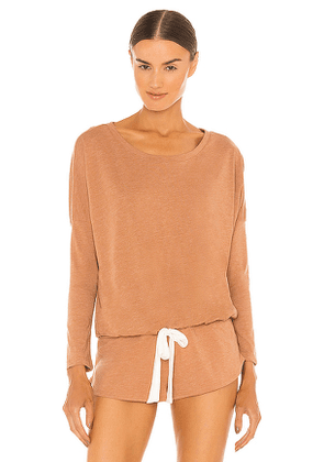 eberjey Heather Slouchy Top in Brown. Size S, M, L.