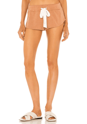 eberjey Heather Track Short in Brown. Size S, M, L.