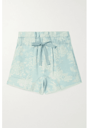The Great - The Midland Frayed Floral-print Denim Shorts - Light blue