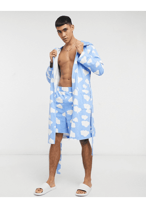 ASOS DESIGN co-ord cloud print dressing gown in blue