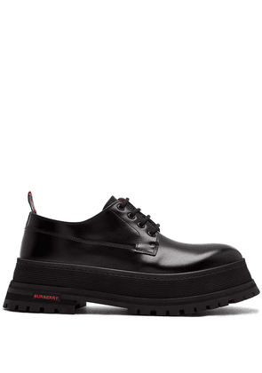 Burberry logo-detail leather Derby shoes - Black