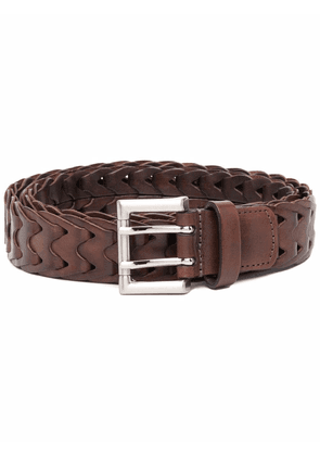 Anderson's geometric-pattern leather belt - Brown