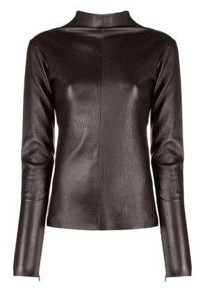 Manokhi leather high-neck top - Brown