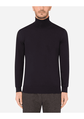 Dolce & Gabbana Collection - Wool turtle-neck sweater Blue male 46