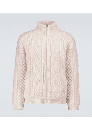 Wool cable-knitted zipped sweater