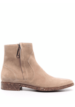Off-White Paperclip suede ankle boots - Brown