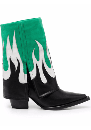 Filles A Papa Fire leather ankle boots - Green