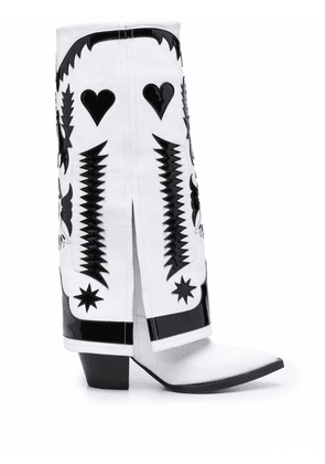 Filles A Papa Texas suede knee-high boots - White