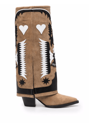 Filles A Papa Texas suede knee-high boots - Brown