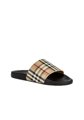 Burberry Furley M Check Slide in Archive Beige - Neutral,Plaid. Size 43 (also in 40, 41, 42, 44).