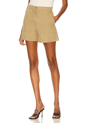 Loewe Paula's Ibiza High Waisted Short in Sand - Tan. Size 38 (also in 36, 40).