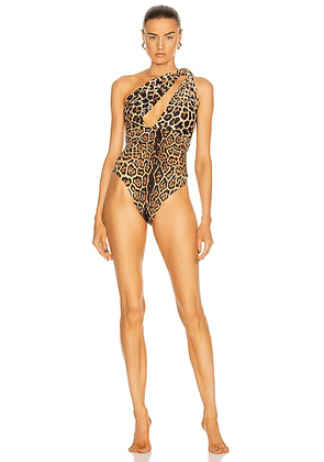 Saint Laurent One Shoulder One Piece Swimsuit in Leopard. Size XS (also in ).