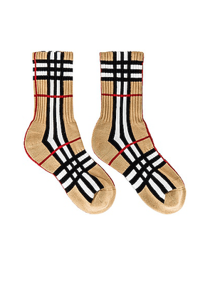 Burberry Vintage Check Socks in Archive Beige - Tan. Size S (also in L, M).