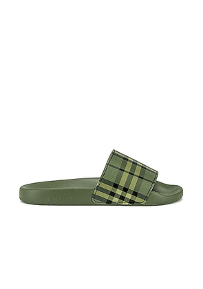 Burberry Furley Slide Sandal in Military Green - Green. Size 40 (also in 41, 43, 44).