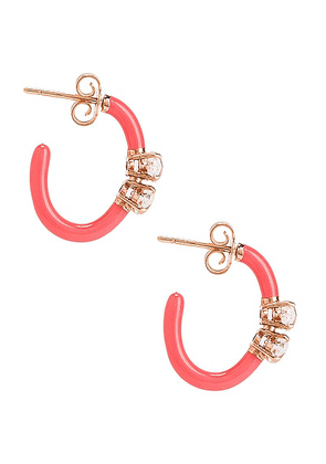 BEA BONGIASCA for FWRD Marquise Cut Vine Hoop Earrings in Crystal & Pink - Pink. Size all.