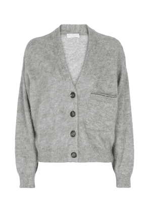 Mohair, wool and cashmere-blend cardigan