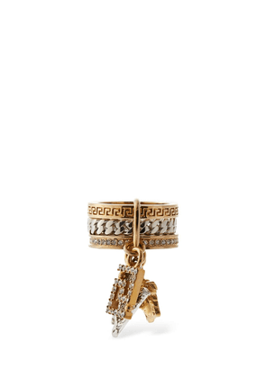 Crystal Thick Ring W/ Charms