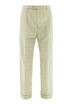 Gucci - Tailored Check Wool-blend Trousers - Mens - Green