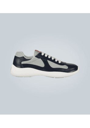 Patent leather and functional fabric sneakers