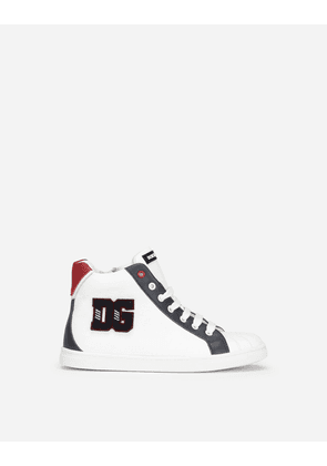 Dolce & Gabbana Shoes (24-38) - Calfskin high-top sneakers with DG patch Multicolor male 26
