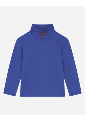 Dolce & Gabbana Collection - Jersey turtle-neck with DG logo embroidery Blue male 3