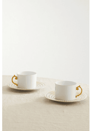 L'Objet - Perlée Set Of Two Gold-plated Porcelain Teacup And Saucers - White