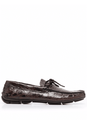 Prada embossed lace-up loafers - Brown
